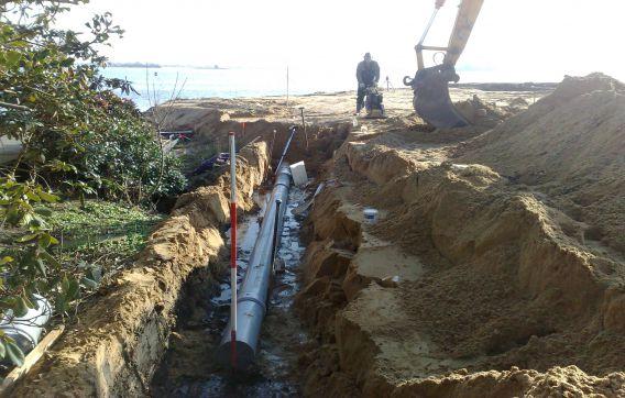 aanleg PVC hemelwaterafvoer afvoer breukeleveen